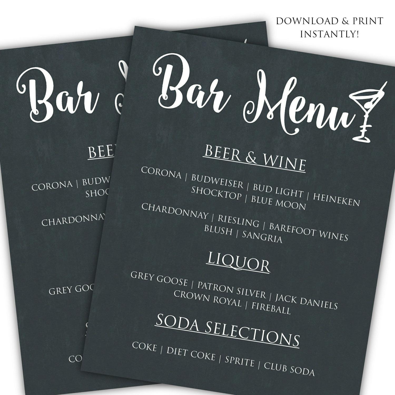Diy Bar Menu Template Printable Bar Menu Template Wedding Menu