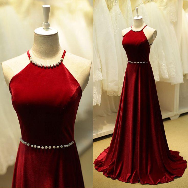 Burgundy Prom Dresses,Backless Prom Dress,Taffeta Prom Dress,Wine ...