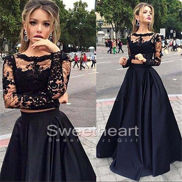 Sweetheart Girl | Custom made round neck lace two pieces black ...