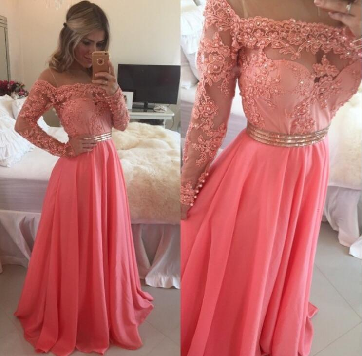 Floor Length Long Sleeves Lace Bodice Prom Gowns Evening Dresses ...