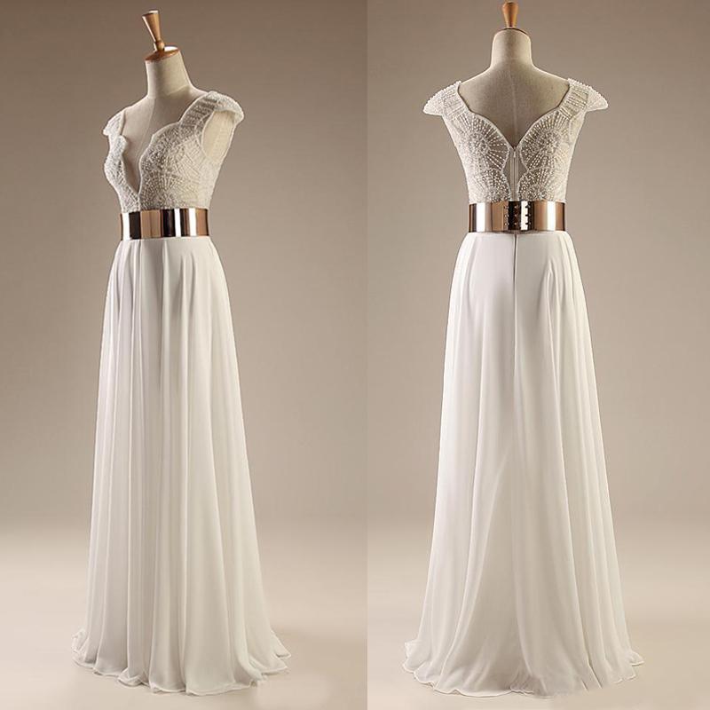 Beading prom dress, long prom dress, white prom dress, cap sleeve ...