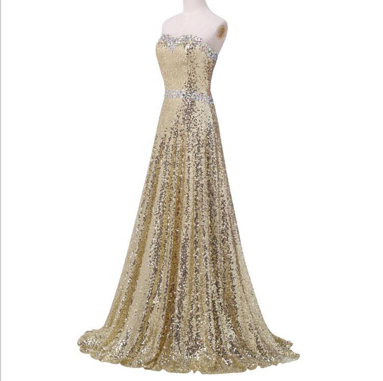 Sequin Prom Dresses, Gold Prom Dress, Long Prom Dress, 2016 Prom ...