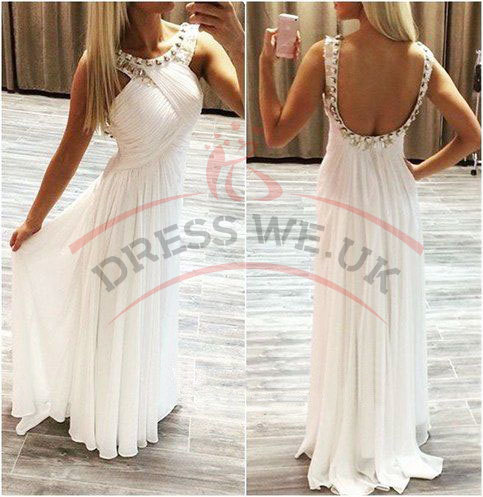 Classy Long Prom Dresses,White Prom Dresses,Chiffon Simple Prom ...