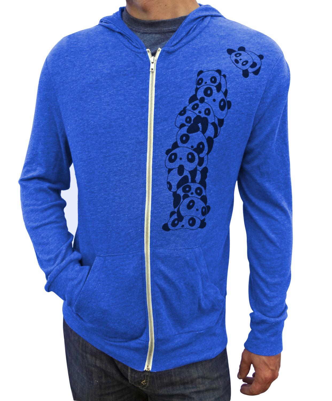 Panda Hoodie, Zip up hoodie, Zip up sweatshirt, Blue Hoodie, Tri ...