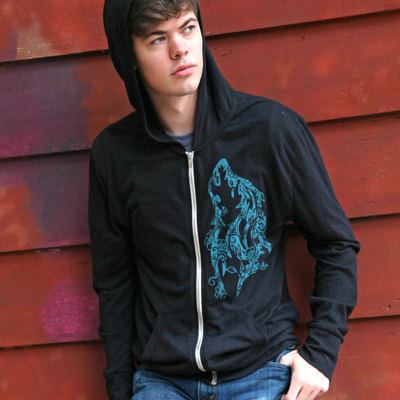 Organic cotton sweatshirt, wolf zip up hoodie for men, black hoodie, organic zip hoodie, gift for him, hooded sweatshirt, zipper