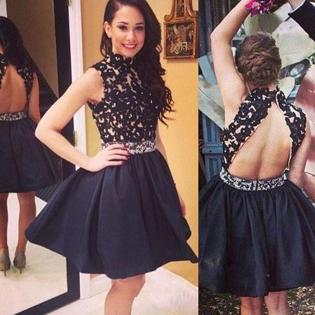 High Neck Prom Dresses with Keyhole Back, Black Open Back Prom Dress ...