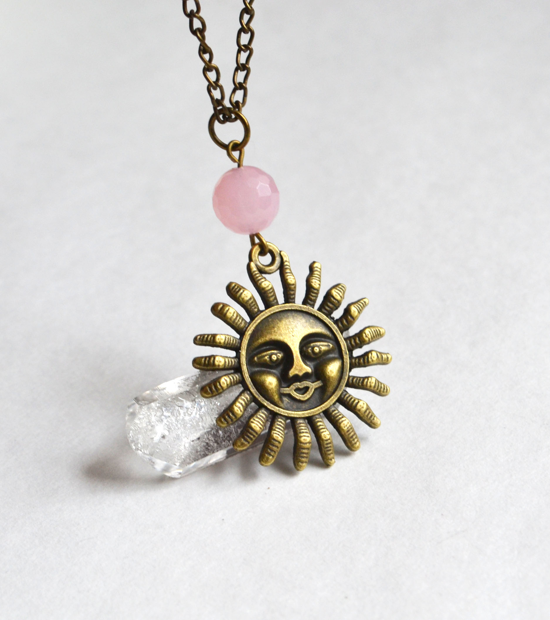 sun pendant gold full moon oxidized round silver product garnet copper necklace ocean