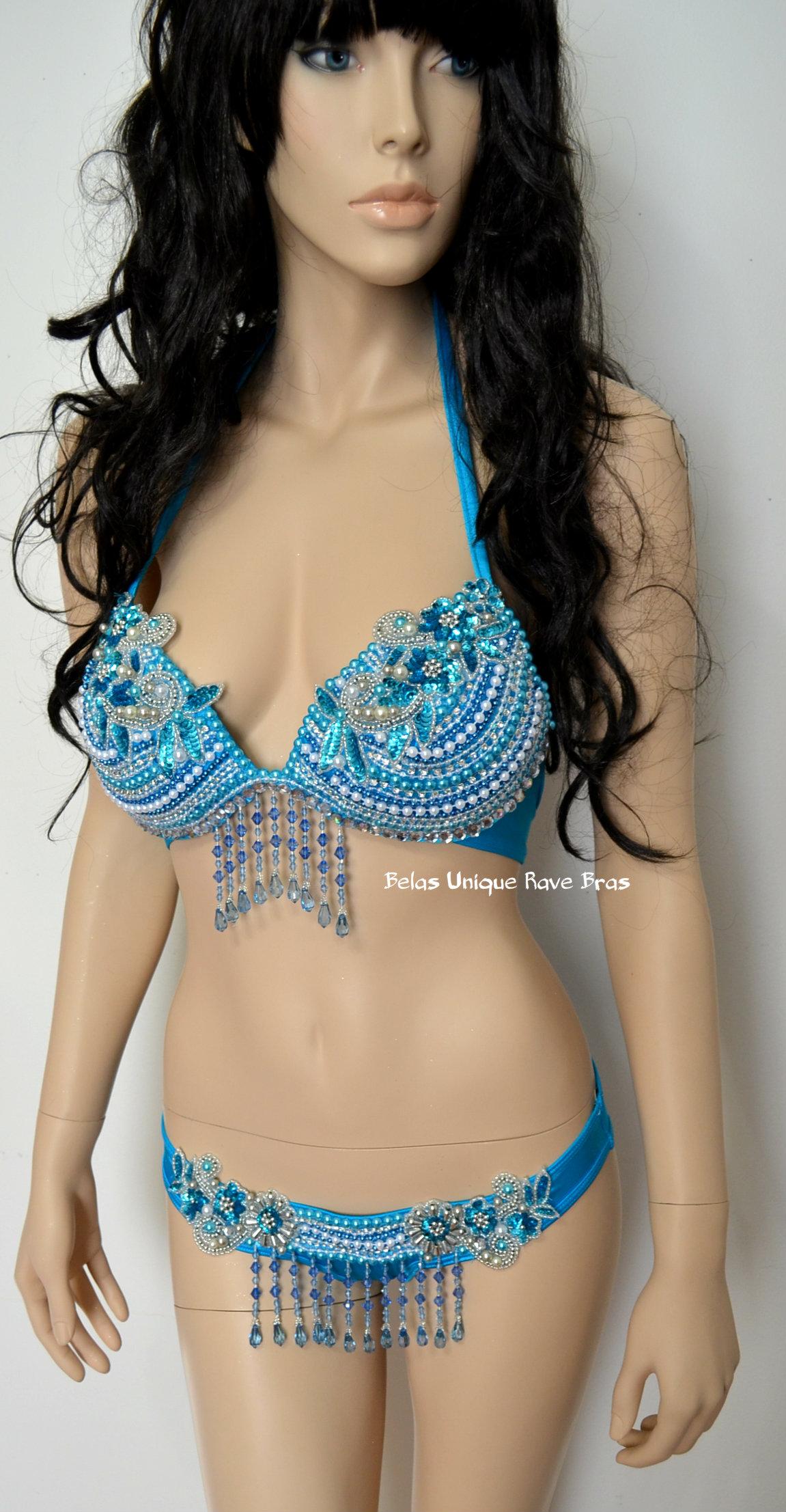 turquoise samba bikini bra bottom dance costume rave bra halloween swimsuit samba fitnessd comp thumbnail - Halloween Swimsuit