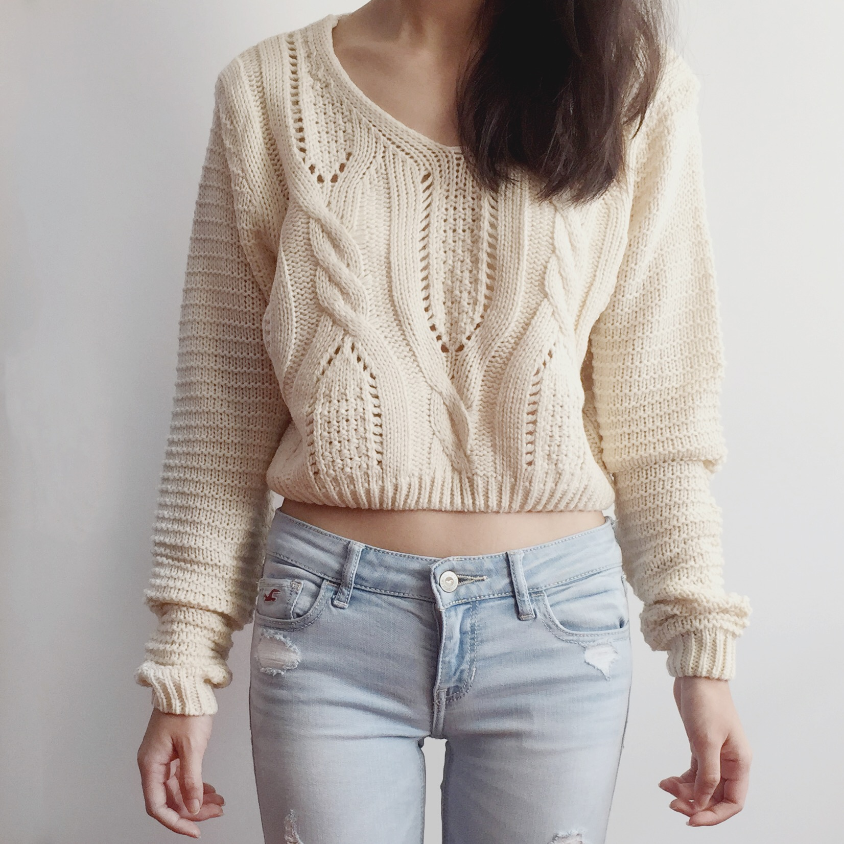 Lace Up Back Cropped Knit Sweater (Cream)