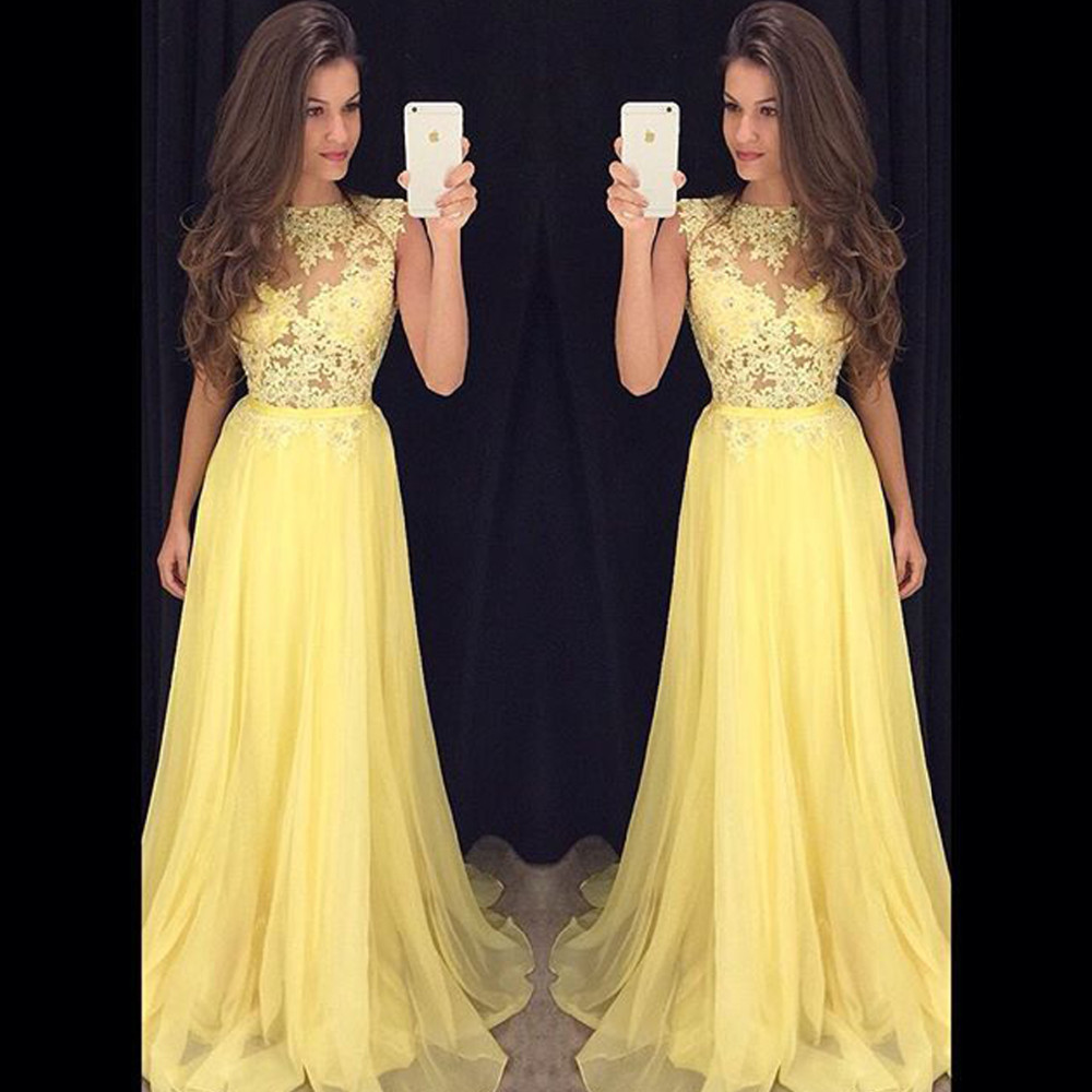 Yellow Prom Dress Cocktail Party Dress Long To Floor pst0624 ...