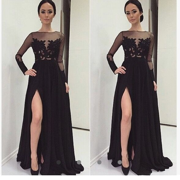 Real Sexy Long Sleeves Black Lace Prom Dressesfront Split Evening