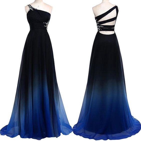 Navy Blue Gradient Long Prom Dresses One Shoulder Royal Blue Ombre ...
