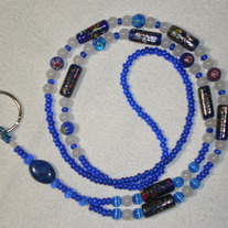 Beaded Lanyard Chunky Blue/White