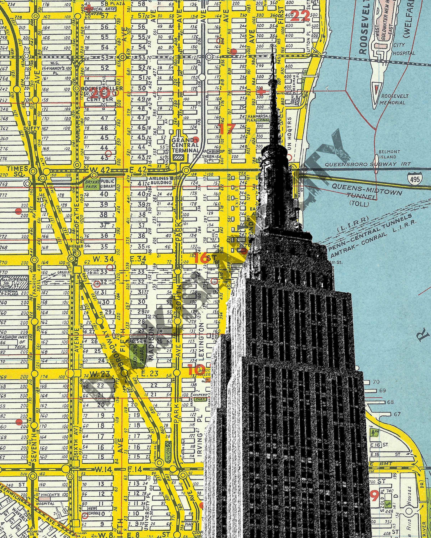 Empire State Building New York City Manhattan Home Decor NYC - Nyc map empire state building