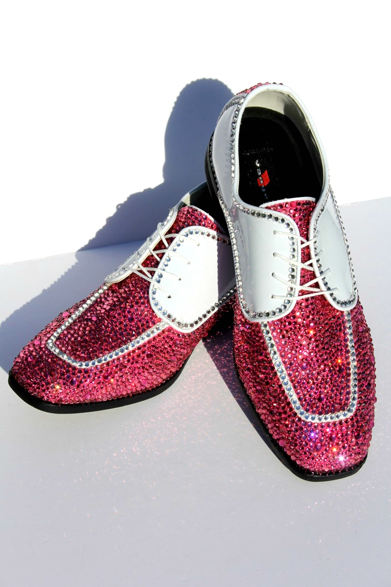 men s wing tip formal shoe with pink swarovski
