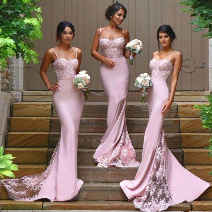 Sweetheart Bridesmaid Dresses with Lace Appliques, Pink Lace ...