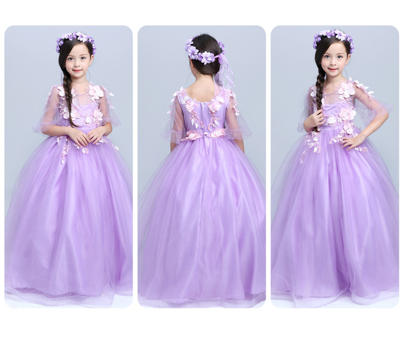 Real Made Princess Half Sleeve Lilac Appliques Ball Gown Flower Girl ...
