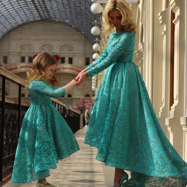 Modern Blue Prom Dresses Long Sleeve High Low Prom Dress