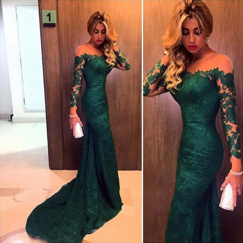 Emerald Green Lace Prom Dress Long Sleeve Mermaid Prom Dress Off