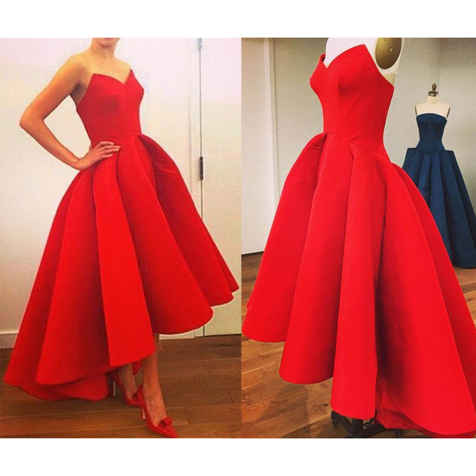 Red high low prom dresses asymmetrical satin ball gown prom dress red high low prom dresses asymmetrical satin ball gown prom dress new arrival sweetheart ombrellifo Choice Image