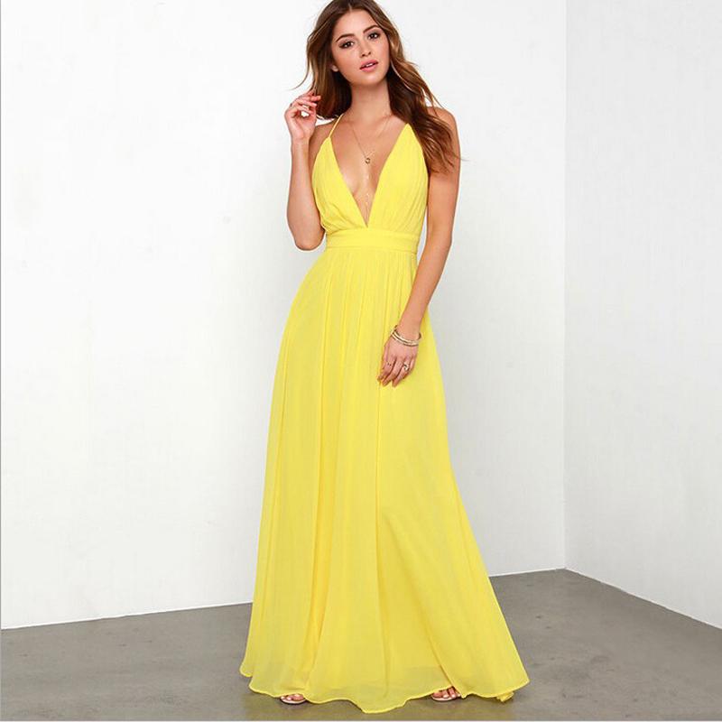 2016 Yellow Long Bridesmaid Dresses Sleeveless V Neck Backless