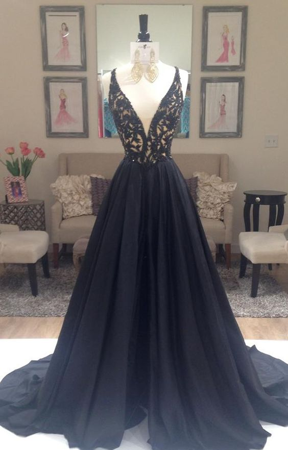 black prom dress,elegant prom dress, A-line prom dress, v-neck prom ...