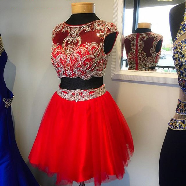 Red Two Piece Prom Dresses with Beaded Waistline, Illusion Beaded ...