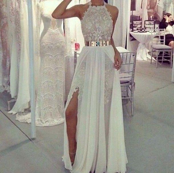 Custom Made A Line Prom DressesWhite Applique DressesSexy Split Dresses