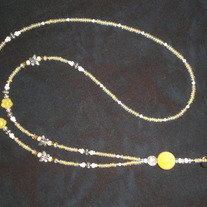 Beaded Lanyard Yellow/Silver/Butterflies (Spec. Order)