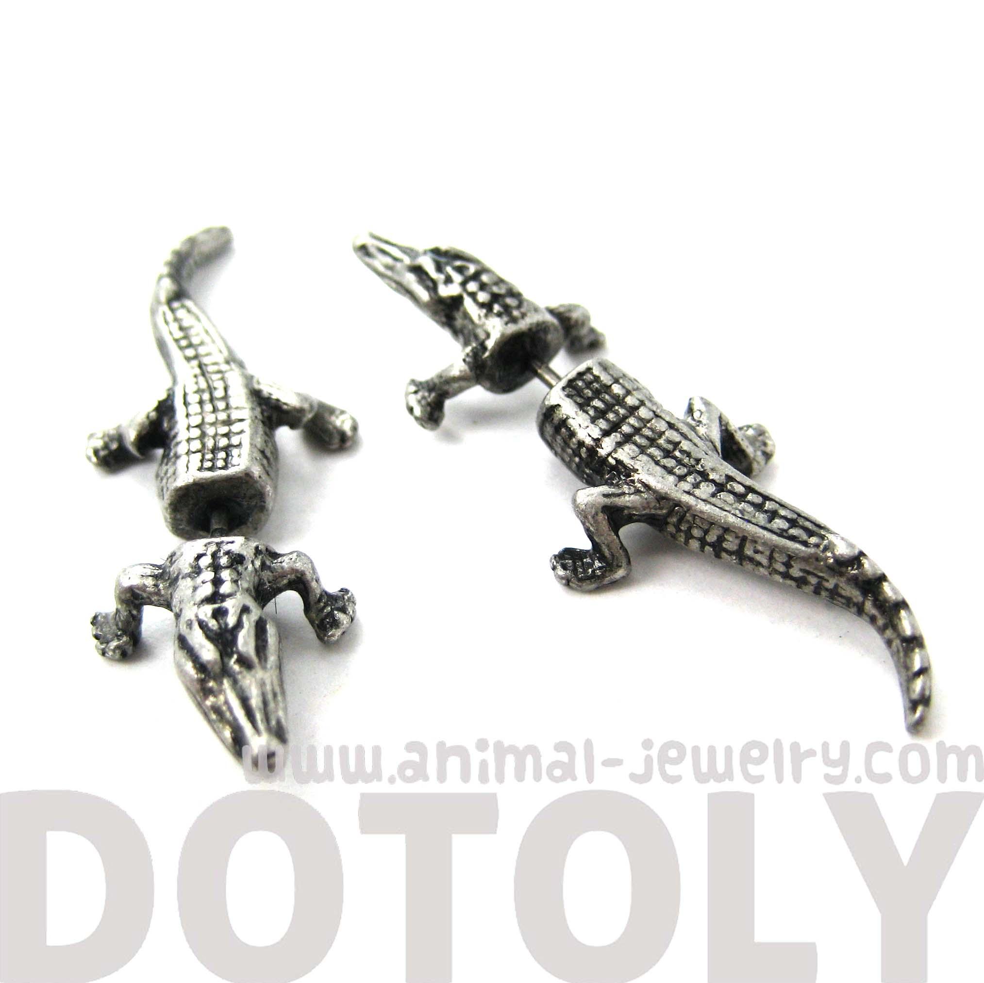 Fake Gauge Crocodile Alligator Animal Stud Earrings In Silver   Thumbnail 2