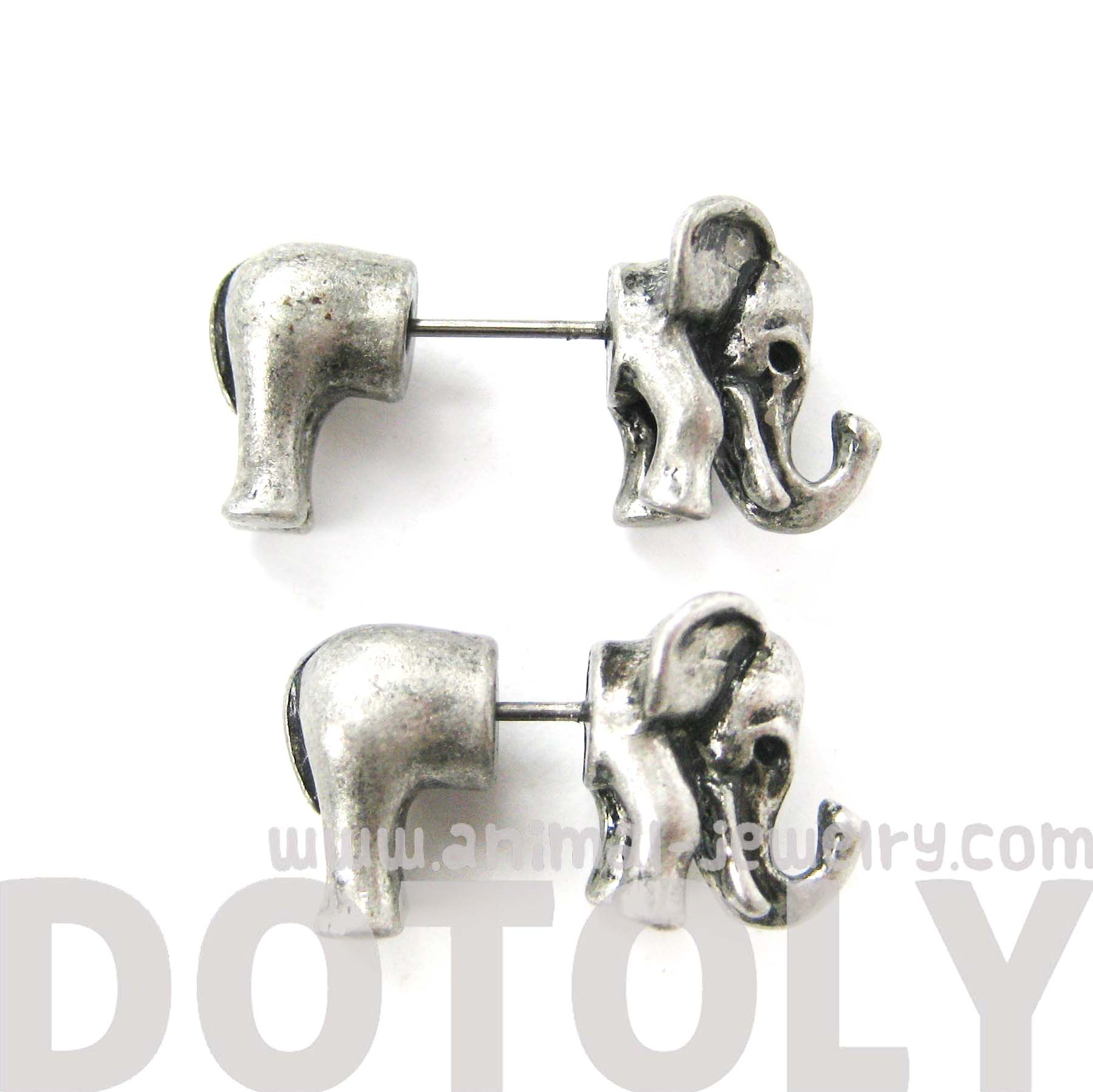 p in earrings little brushed elephant htm silver