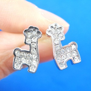 Small Giraffe Shaped Animal Stud Earrings in Silver with Rhinestones