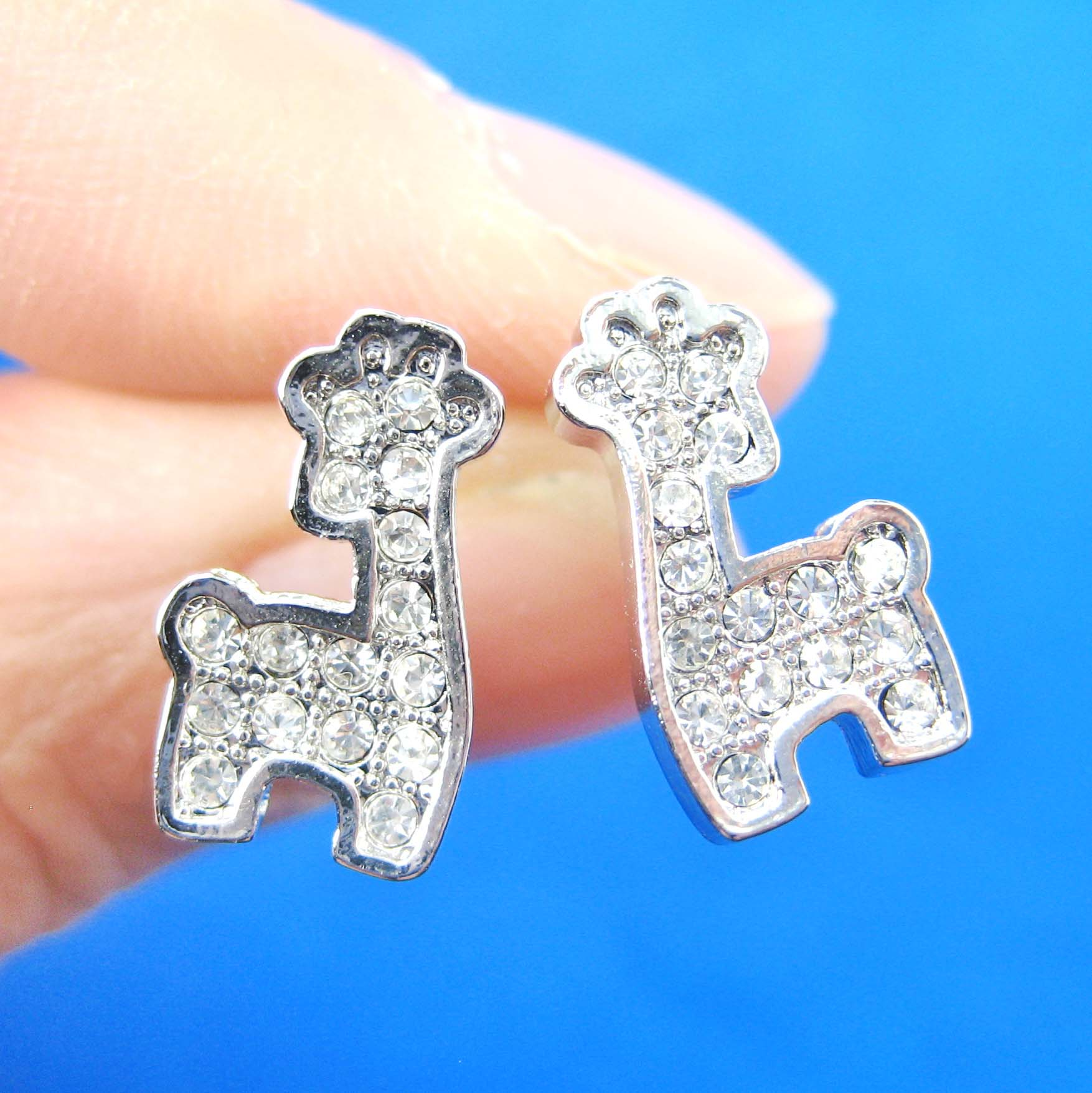small giraffe shaped animal stud earrings in silver with