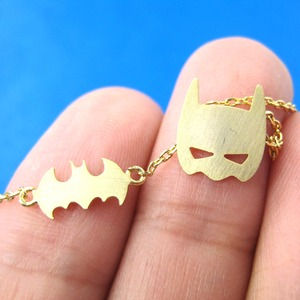 Batman Bat Logo and Mask Symbol Charm Necklace in Gold