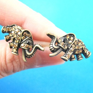Unique Elephant Animal Stud Earrings in Bronze with Rhinestones