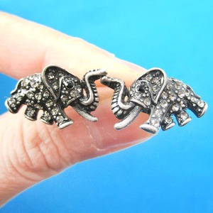 Unique Elephant Animal Stud Earrings in Dark Silver with Rhinestones