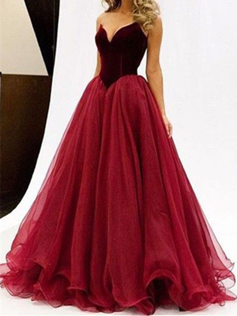 Sweetheart Neck Floor Length Prom Dresses,Maroon Prom Ball Gown ...