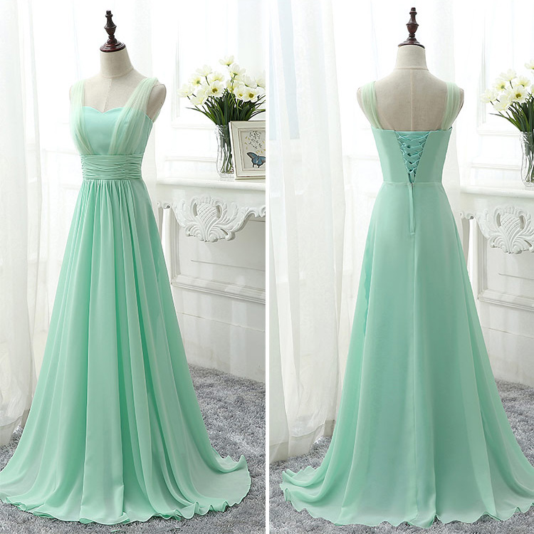 Sweetheart bridesmaid dress with belt modern chiffon for Mint green wedding dress