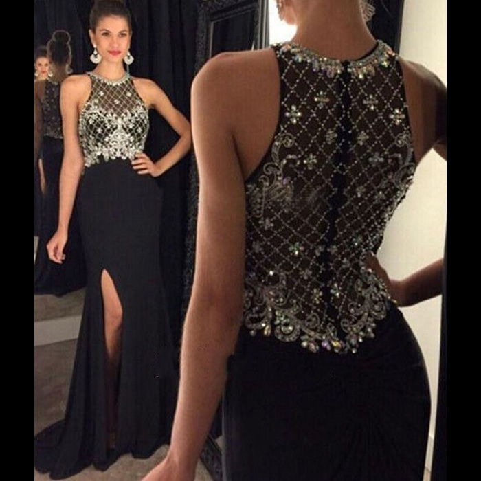 Halter Illusion Black Prom Dresses, Black Column Chiffon Prom ...