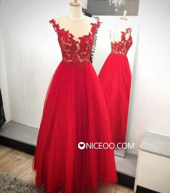 Ball gown Red V Neck Floor Length Tulle prom dresses with Appliques