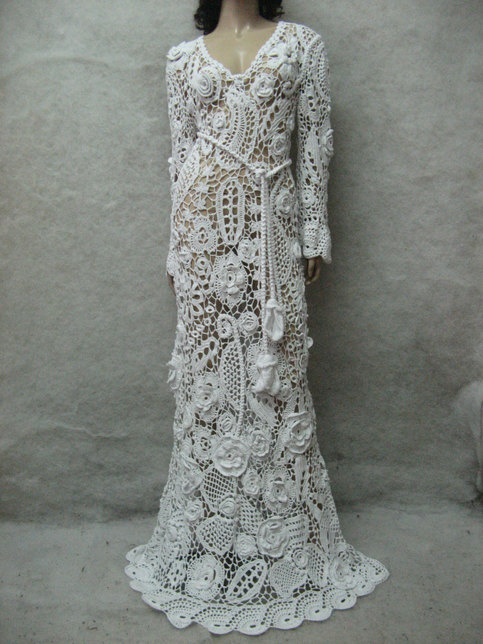 Crochet Wedding Maxi Dress Handmade White Dress Wedding