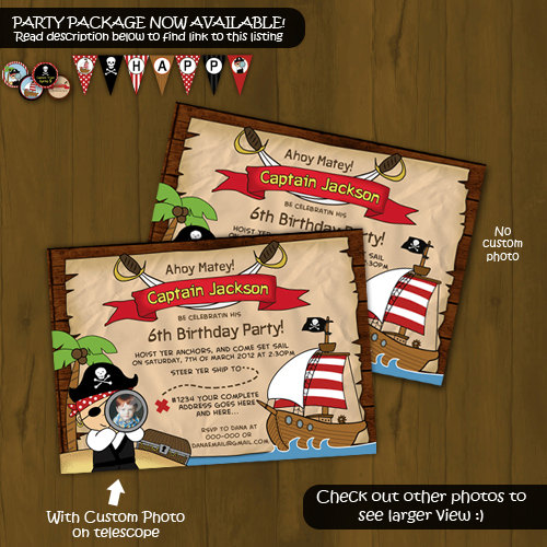 pirate birthday invitation  pirate ship birthday party card, party invitations
