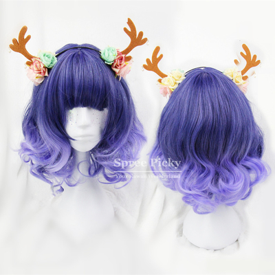 Purple lolita curly short hair wig sp166712