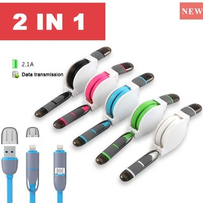 Retractable 2 in 1 micro usb sync tpe charger power 8 pin data cable 1m for ios 8 & android for iphone 5 6 samsung 2in1 8pin