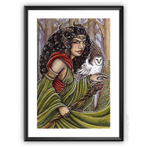 Forest Witch - ORIGINAL watercolour painting 10x15 portrait medium photo