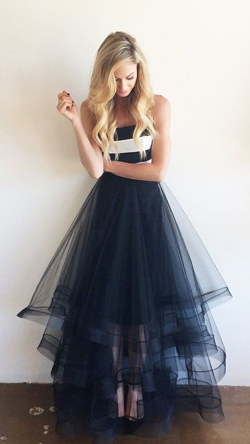 Navy Blue Tulle And White Stripe Simple Cheap Long