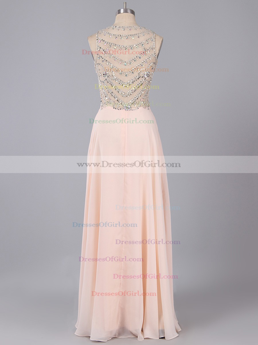 Illusion Neckline Beaded Back Prom Dress, Blush Chiffon Prom Dress ...