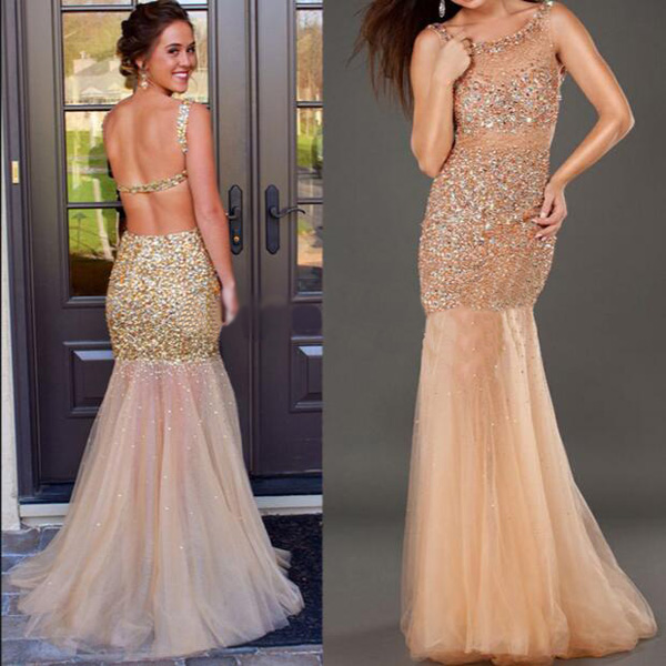 long sparkly prom dress ,open back prom dress ,mermaid prom dress ...