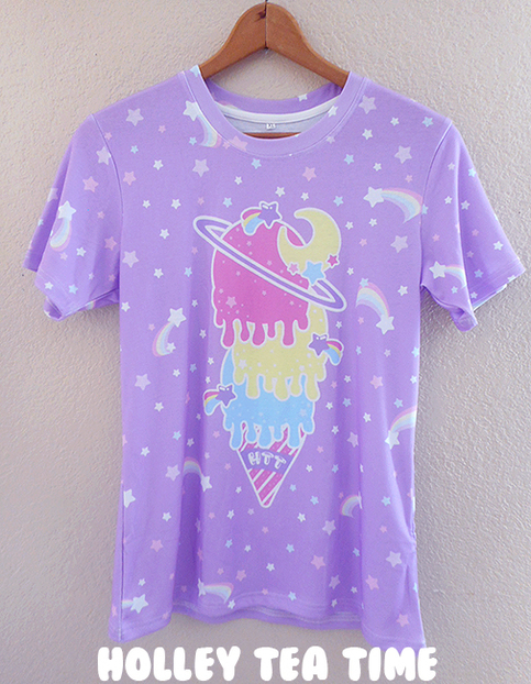 Cosmic Ice Cream Purple All Over Print T Shirt Made To