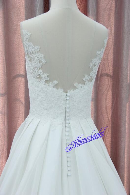 Round neckline wedding dress, lace wedding dress, long wedding ...